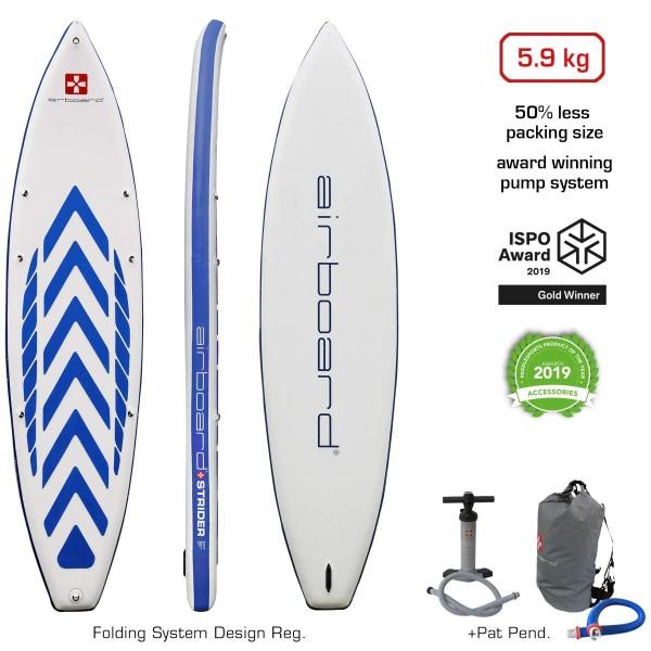 """Airboard Strider Dark Blue 11'2"""" x 32"""" SUP Board 2021"""